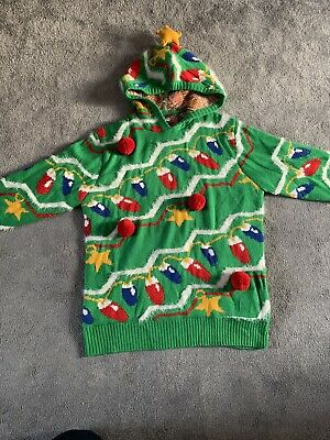 Christmas Jumper Christmas Tree Hoodie With Star On The Hood & Baubles • 3.20£