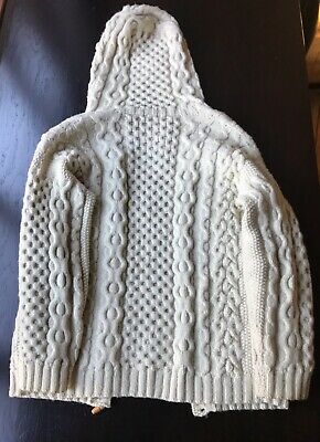 Aran Cardigan- Vintage Hand Knitted Hooded. In Pure Wool Size 10/12 • 15£