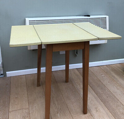Gorgeous Yellow Formica Drop Leaf Kitchen Dining Table Vintage Retro Mid Century • 39.99£