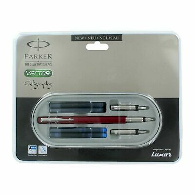 Parker Vector Calligraphy CT Ink / Fountain Pen, Red Body + 4 Free Cartridges • 10.41£