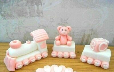 Train & Carriages Fondant Cake Topper, Any Colour,christening • 15.99£