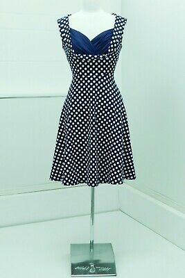 Gorgeous 50s Pinup Bettie Page Style Full Skirt Dress Navy/White UK14 Mad Men • 20£