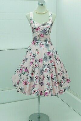 Exquisite 50s Pinup Girl Bettie Page Style Full Skirt Dress Pink Floral UK12  • 22£
