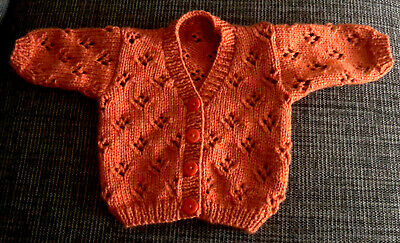 Hand Knitted Russet Cardigan To Fit Baby Boy Or Girl Aged 0 - 3 Months • 5.25£