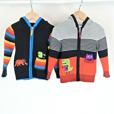 Boys Blue Zoo Dinosaur Cardigan Bundle Aged 18-24 Months Knitted Twins Matching • 7.49£