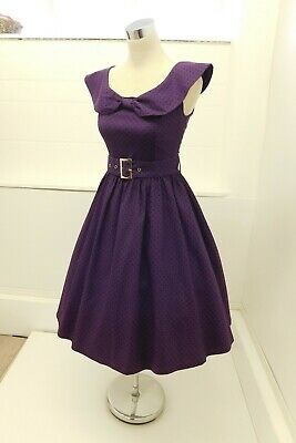 Lindy Bop 50s Nautical Bettie Page Style Full Skirt Belted Dress Purple  UK 10 • 22£