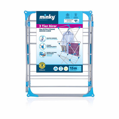 Minky 3 Tier Trio 15m Indoor Concertina Clothes Airer Dryer - Silver UK • 28.50£