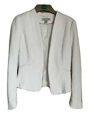 H&m White Fitted Blazer Size 10 • 3.99£