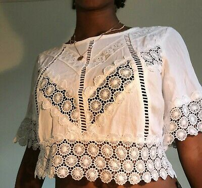 Self Esteem White Lace Summer Top With Tie At Ties Size S • 7.99£