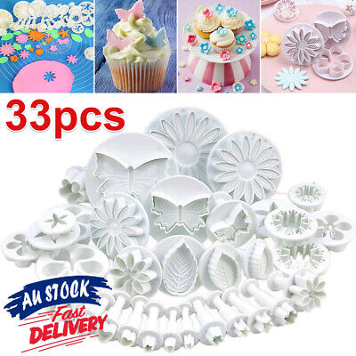AU13.75 • Buy 33PCS Sugarcraft Cake Cupcake Decorating Fondant Icing Plunger Cutters Tools