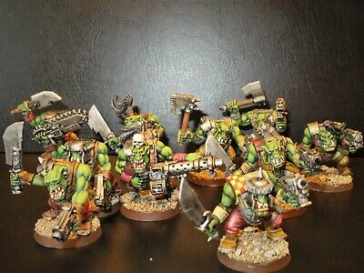 Orcs, Warhammer 40k, 10 Orc Figures. Painted. Group1. • 37£
