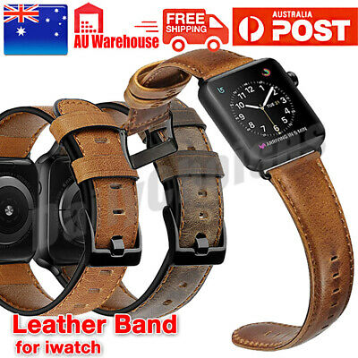 AU14.89 • Buy For Apple/Watch Band Genuine Leather Strap IWatch Series 6 5 4 3 2 38/40/42/44mm