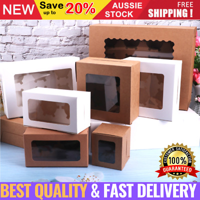 AU26.75 • Buy Cupcake Box Cases 2/4/6/12 Holes Clear Window Cupcake Display Boxes Muffin Cups