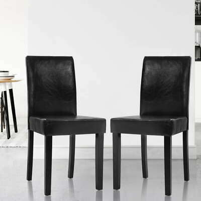 AU91.90 • Buy Artiss 2x Dining Chairs Leather Pad Chair High Back Wood Cafe Kitchen Black