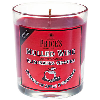 £5.99 • Buy Price's Mulled Wine Odour Eliminating Scented Glass Jar Prices Candles