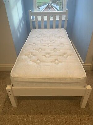 Single Bed 3ft Solid Wooden Frame - White • 23£