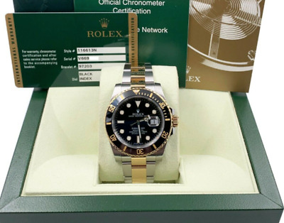 $ CDN17797.44 • Buy Rolex Submariner 116613 Black Dial 18K Yellow Gold Stainless Box Paper 2010