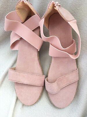 BNWOT Nude/ Peach/ Pink Wedge Elastic Strappy Sandals Size 40 Uk7 • 3.99£