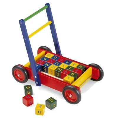Pintoy Classic Solid Wood Baby Walker With Wooden Alphabet Bricks • 5£