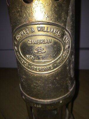 Miners Lamp, E Thomas & Williams Ltd, Cambrian, Aberdare Wales, Brass No BT. • 27.90£