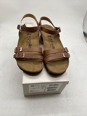 Papillio Birkenstock Lana Brown Wedge Ankle Strap Sandals 7N/ 38 Cy24 4 • 50.64£