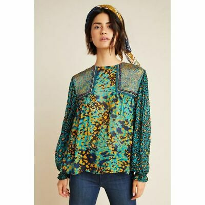 $ CDN94.64 • Buy Anthropologie Bl-nk London Joelle Leopard Peasant Blouse Top Size Small