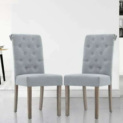 AU171.90 • Buy Artiss 2x Dining Chairs French Provincial Fabric High Roll Back Wood Light Grey