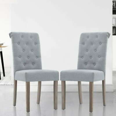 AU148.50 • Buy Artiss 2x Dining Chairs French Provincial Fabric High Roll Back Wood Light Grey