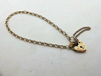 AU195 • Buy 9ct Yellow Gold Padlock Bracelet Chain English Hallmarks 9k 375