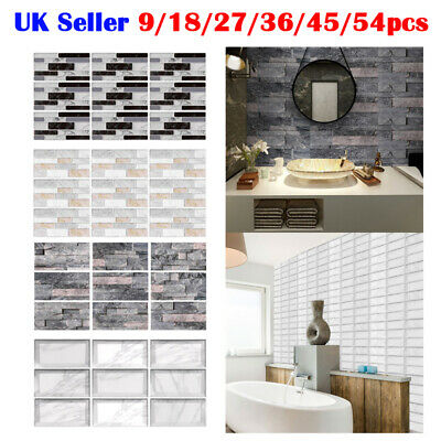 Mosaic Sticker Kitchen 3D Tile Stickers Bathroom Self-adhesive Wall House Decor • 16.70£