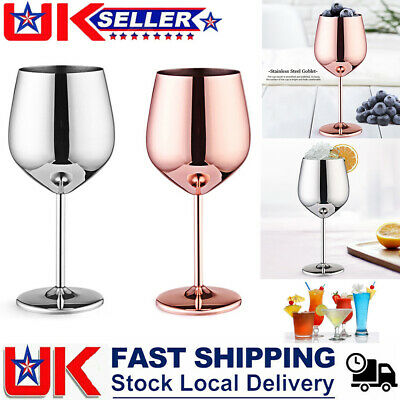 500mL Stainless Steel Wine Glasses Goblets Copper Cup Reusable High Quality UK • 9.99£