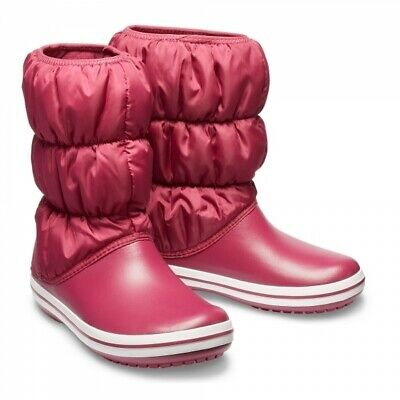 AU34 • Buy Crocs Women's Winter Puff Boots Quilted Comfy Warm - Pomegranate/White