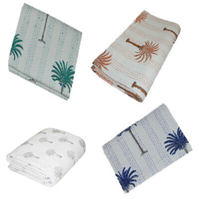 Indian Twin Kantha Palm Tree Floral Quilt Cotton Handmade Blanket BedspreadThrow • 27.99£