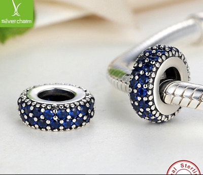 Pandora Pave Spacer Charm Blue Stones 925 Sterling Silver   • 13£