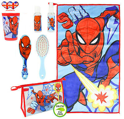 AU21.65 • Buy Official Marvel Spiderman Filled Travel Toiletry Bag;Hair Brush-Hand Towel-Cup..