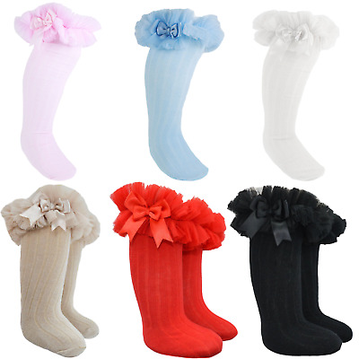 Girls Frilly Knee Socks Romany-Gypsy-Spanish Style With Organza And Satin Bows • 5.79£