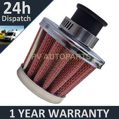 £4.99 • Buy 25mm Air Oil Crank Case Breather Filter Motorcycle Quad Car Red & Chrome Cone
