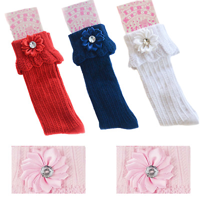 Girls Knee High Socks With Ribbon Flower And Diamante Accent Newborn - 12 Months • 2.99£