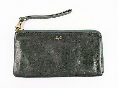 Fossil Green Leather Wristlet Purse 20.5cm X 11.5cm  • 15.99£
