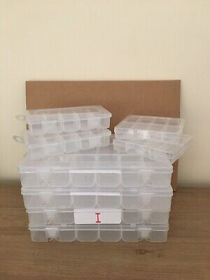 Clear Plastic Storage Organizer Compartment Craft Beads Jewellery Box X 8 • 0.99£