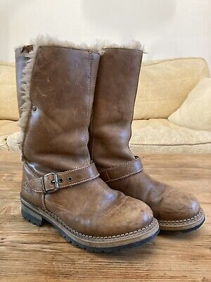 Caterpillar Ladies Tan Leather Fur Lined Boots - Size 5 • 10£