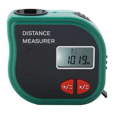 Handheld LCD Ultrasonic Distance Meter Green Plastic 650nm Measurement • 14.48£