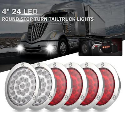 $39.99 • Buy 4in LED Round Stop Turn  Backup Reverse Tail Lights Red +White For Truck Pickup
