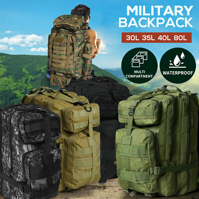 AU33.99 • Buy 30L/40L/80L Military Tactical Backpack Rucksack Camping Outdoor Trekking Bag
