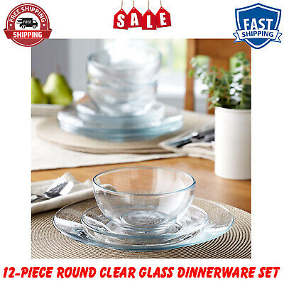 $34.59 • Buy 12-Piece Round Clear Glass Dinnerware Dining Set, Dinner Meal Glassware, NEW