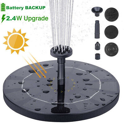 2.4W Solar Fountain Floating Battery Backup Water Feature Garden Pool Pond Pump • 12.99£