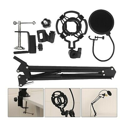 AU20.99 • Buy Microphone Suspension Boom Scissor Arm Stand With Pop Filter Shock Mount