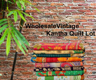 Wholesale Lot Of Vintage Kantha Quilt Throw Blanket Bedspread Indian Handmade • 28.99£