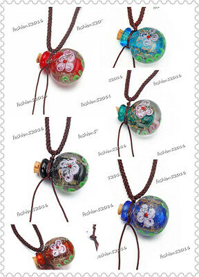 £10.21 • Buy 12ps Round Glass Bottle Pendant Necklace Perfume Essential Oil Diffuser Handmade