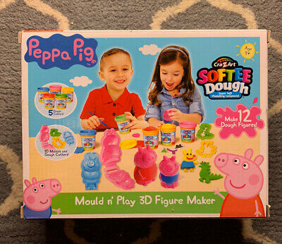 Peppa Pig Softee Dough Mould N Play 3D Figure Maker Playset 5 Tubs & Cutters • 13£